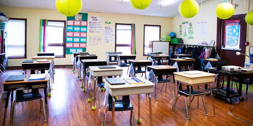 Bright elementary classroom.